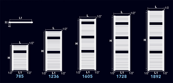 technical table of towel rail radiator zeta-k - Termosifone Arredo Bagno